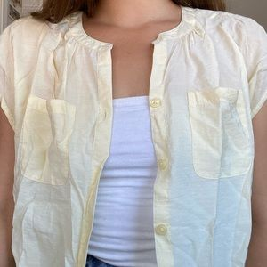 Lightweight Pale Yellow Button Up Blouse